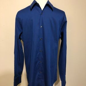 Geoffrey Beene Blue Long Sleeved Fitted Shirt-15.5